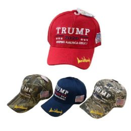 Trump 2020 Hat with Flag 24 pack
