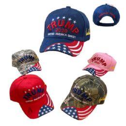 TRUMP 2020 Keep America Great HAT [Emb Flag on Bill] 24 pack