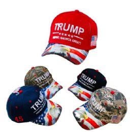 Trump KEEP AMERICA GREAT Hat [Eagle/Flag Print] 24 pack