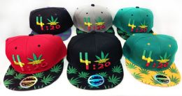 Snap Back Flat Bill Marijuana Leaf 4:20 Design Hat 24 pack