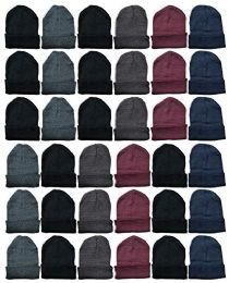 Yacht & Smith Unisex Winter Warm Acrylic Knit Hat Beanie 24 pack