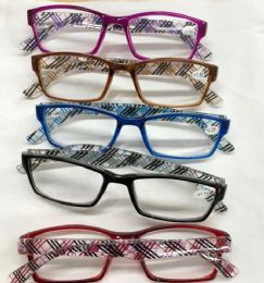 Assorted Colors And Power Lens Plastic Reading Glasses Plaid Print Hinge Bulk Buy 120 pack