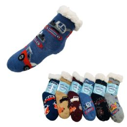 Child's Plush-Lined Non Slip Sherpa Socks 36 pack