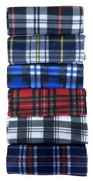 Yacht & Smith Unisex Warm Winter Plaid Fleece Scarfs Assorted Colors Size 60x12 72 pack
