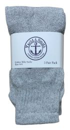 Yacht & Smith Kids Solid Tube Socks Size 6-8 Gray Bulk Buy