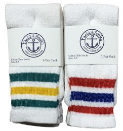 Yacht & Smith Kids Cotton Tube Socks Size 6-8 White With Stripes 240 pack