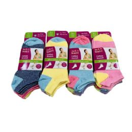 Ladies/Teen Low-Cut Anklets 9-11[Two Tone] 60 pack