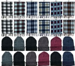 Yacht & Smith Unisex Warm Winter Plaid Fleece Scarfs Size 60x12 And Assorted Color Beanies Set Bulk Buy 288 pack