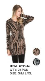 Leopard Print Long Sleeve Sweater Tunic 36 pack
