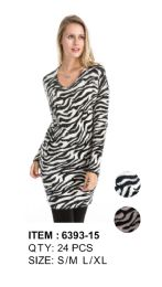 Leopard Print Long Sleeve Sweater Tunic 24 pack