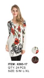 Floral Printed Long Sleeve Sweater Tunic 24 pack
