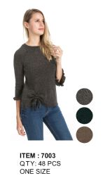 Women Solid Color Sweater With Tie 48 pack
