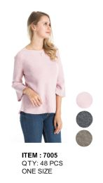 Women Solid Three Quarter Sleeve Ribbed Sweater 48 pack