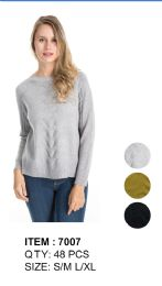 Women Solid Knitted Long Sleeve Sweater 48 pack