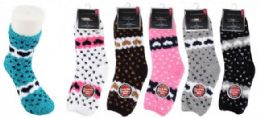 Women's Soft Fuzzy Socks Heart Design Size 9-11 72 pack