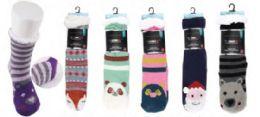 Women's Soft Sherpa Socks With Non-Slip Bottom Animal Design Size 9-11 36 pack