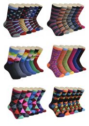 Women's Mix Geo Series Printed Crew Socks 360 pack