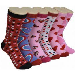 Women's Heart Printed Crew Socks 360 pack