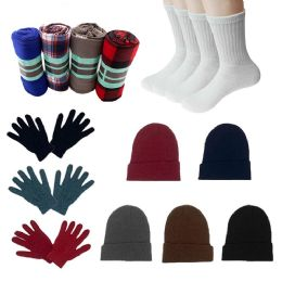 Homeless Care Package Supplies 12 Glove Pairs, 12 Socks, 12 Winter Throw Blankets, 12 Beanies 48 pack