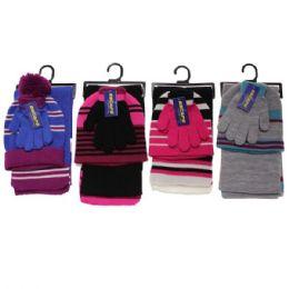 GIRLS 3-PIECE STRIPE SET HAT-GLOVES-SCARF 30 pack