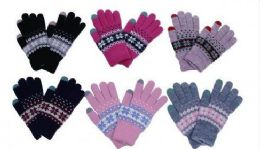 Womens Knitted Winter Stretch Gloves 60 pack