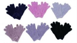 Womens Fuzzy Winter Stretch Gloves 60 pack