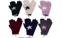Womens Girls Printed Star Winter Glove 36 pack