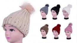 Women Knit Winter Turn up Beanie Hat with Pearl And Pompom 36 pack