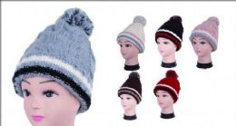 Women Knit Winter Turn Up Beanie Hat With Pompom 36 pack