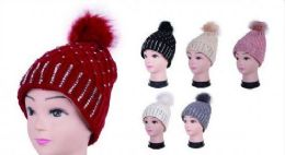 Women Winter Acrylic Diamond Pompom Knitted Beanie Hats Warm Hat 36 pack
