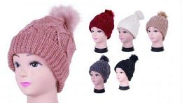 Women Knit Slouchy Beanie Chunky Baggy Hat with Faux Fur Pompom Winter Soft Warm Ski Cap 36 pack