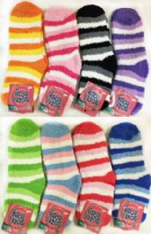Stripped Lady Fuzzy Socks Assorted 60 pack