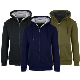 Mens Fleece Line Sherpa Hoodies Assorted Colors And Sizes