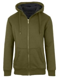 Mens Olive Fleece Line Sherpa Hoodies Assorted Sizes 12 pack