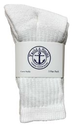 Yacht & Smith Kids Premium Cotton Crew Socks White Size 6-8 BULK PACK 240 pack