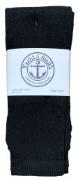 Yacht & Smith Women's Cotton Tube Socks, Referee Style, Size 9-15 Solid Black Bulk Pack