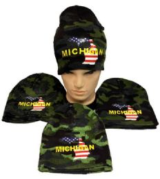 Winter Beanie Hat Michigan Camo 24 pack