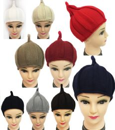 Winter Knitted Women Hat with Pointy End Assorted Color 36 pack