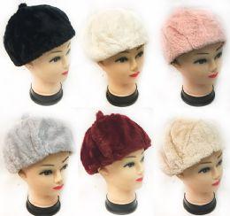 Faux Fur Ladies Winter Hat Assorted Colors 36 pack