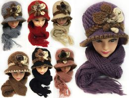 Knitted Women's Winter Hat and Scarf Set Assorted Colors 24 pack