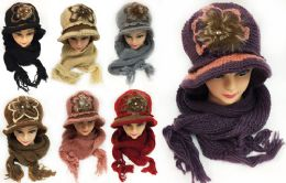 Women's Winter Knitted Hat and Scarf Sets Assorted 24 pack