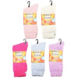 Women Winter Thermal Crew Socks Assorted Light Colors 36 pack