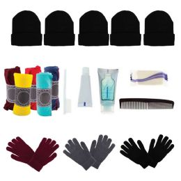 Bulk Case of 12 Gloves, 12 Winter Throw Blankets, 12 Beanies - Wholesale Care Packages