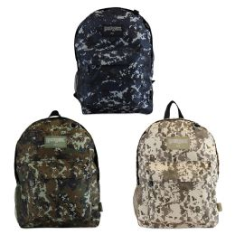 "17"" Camouflage Backpacks With Mesh Water Bottle Pocket In 3 Assorted Colors 24 pack"