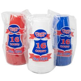 16oz Plastic Cups 16 Pack 3 Colors Assorted