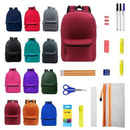 """15"""" Backpacks With 12 Piece School Supply Kit - In 12 Assorted Colors"""