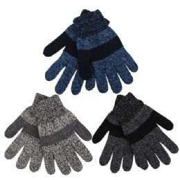 Boys Marled Striped Knitted Winter Gloves 72 pack