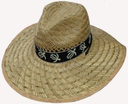 Adults Large Straw Hat With Turtle Print 30 pack