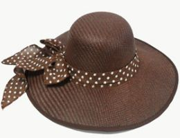 Women's Straw Floppy Hat With Bow 60 pack