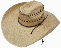 Adults Large Rim Straw Sun Hat With Chinstrap 50 pack